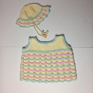 Vintage Baby Knit Top and Hat